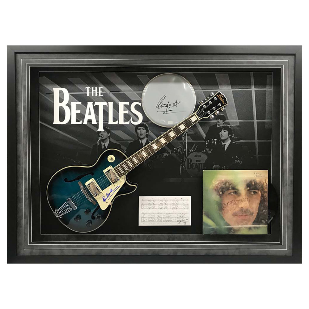 music the beatles signed framed multi instrument display