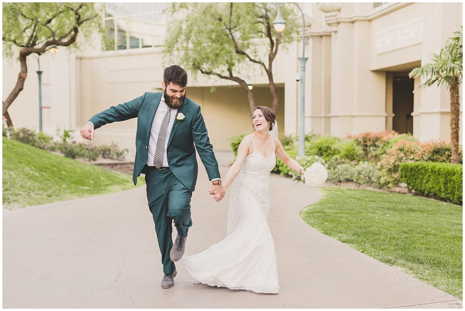 stress-free newlywed couple just after their Las Vegas wedding ceremony