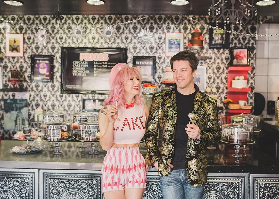 Annalee Belle & JD Scott enjoying a couple of Showboy Bakeshops' delicious cake pops.
