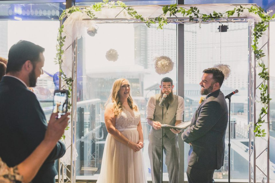 wedding overlooking Las Vegas strip photographed by Taylor Made Photography