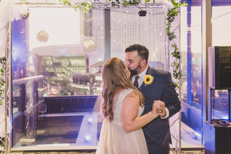 couple enjoys first dance at Hard Rock Cafe