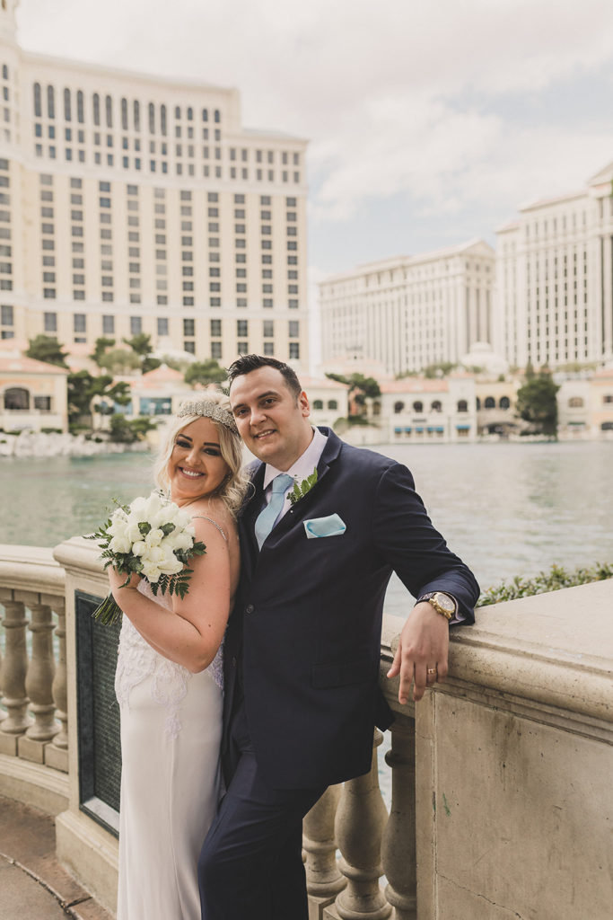 bride and groom pose for Taylor Made Photography during Las Vegas elopement