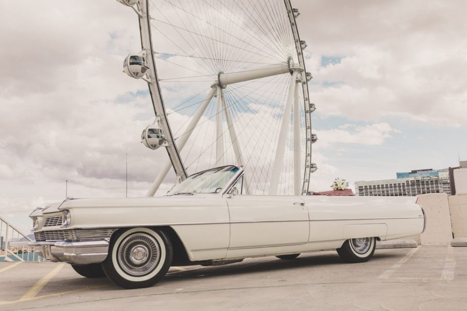 white Cadillac from Cadillac Kings by Las Vegas Observation Wheel