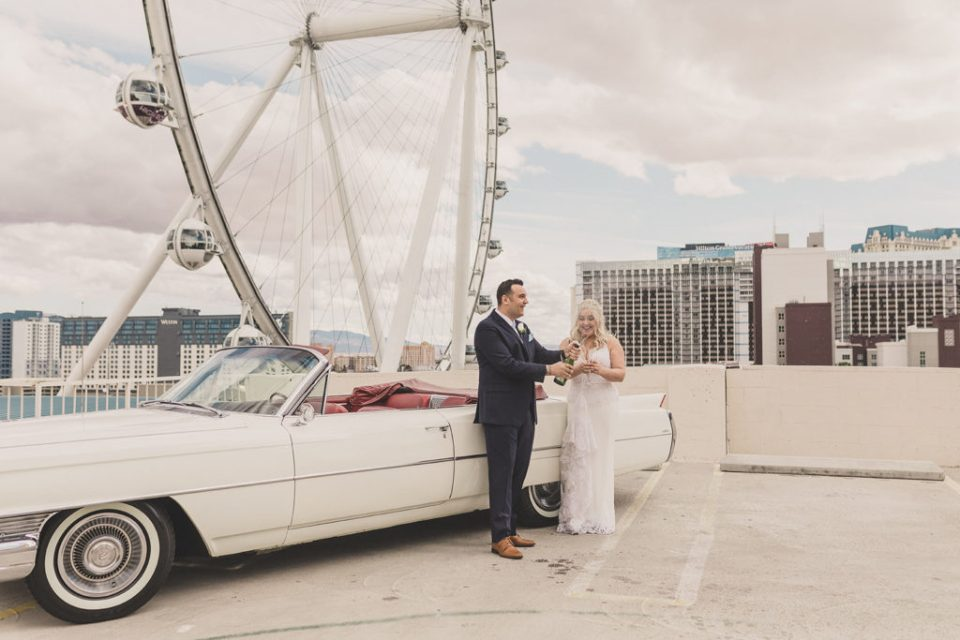 champagne toast during Las Vegas elopement with Taylor Made Photography