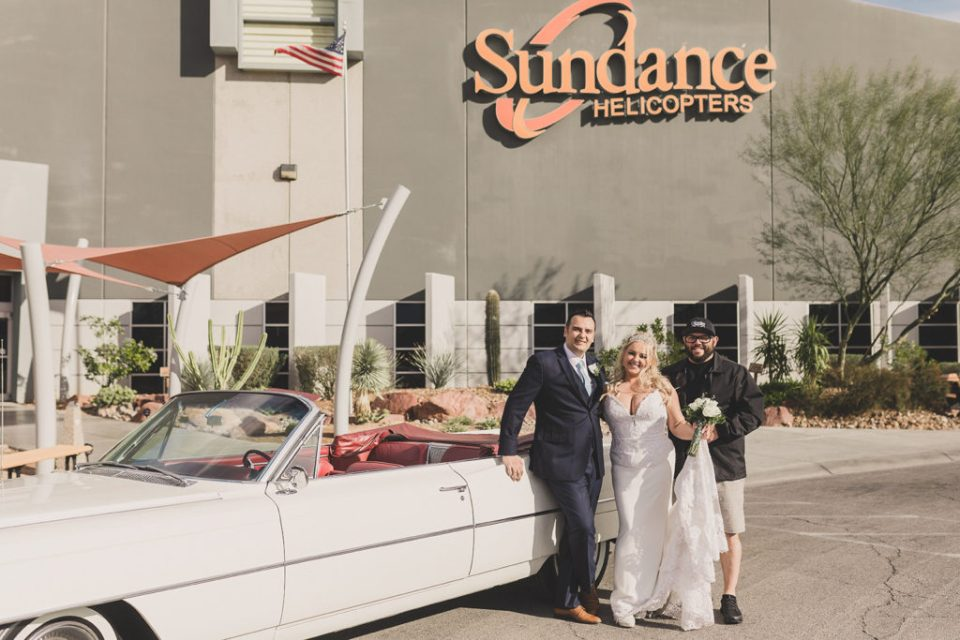 bride and groom prepare for Sundance Helicopters ride