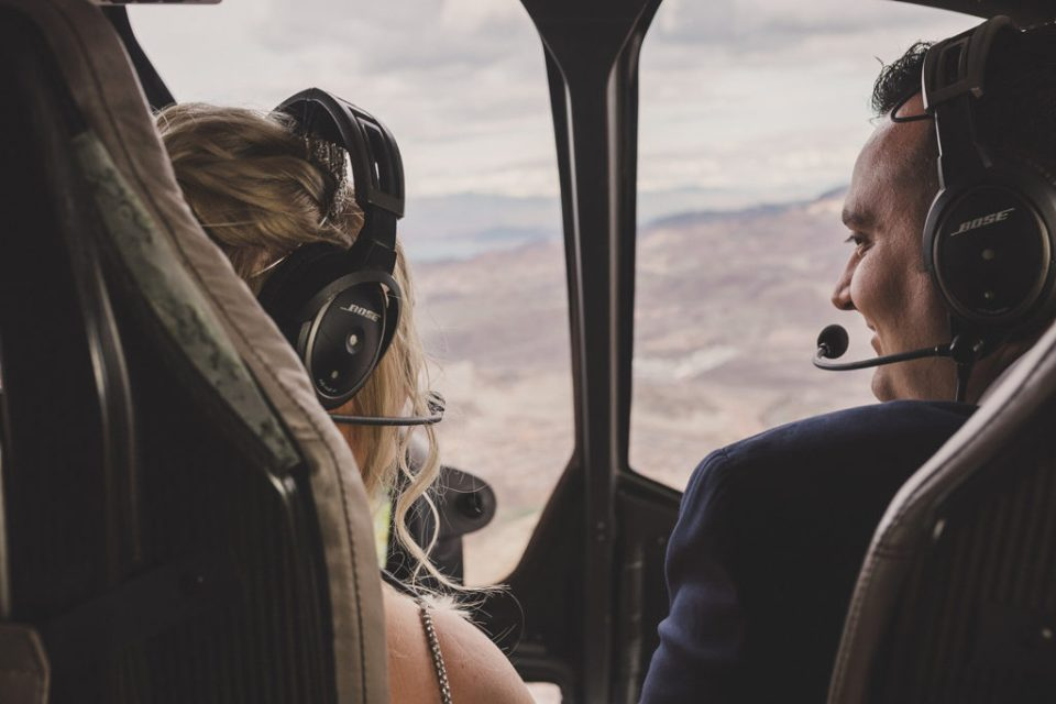 bride and groom fly over Grand Canyon for elopement with Taylor Made Photography