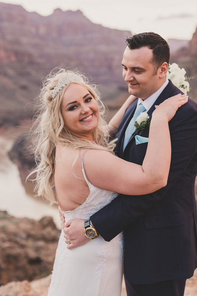 Grand Canyon wedding portraits for bride and groom by Taylor Made Photography
