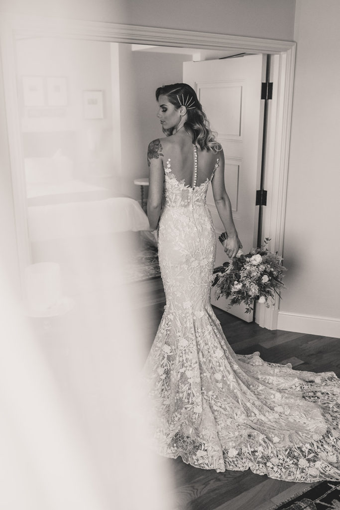 bridal portrait in black and white by Taylor Made Photography