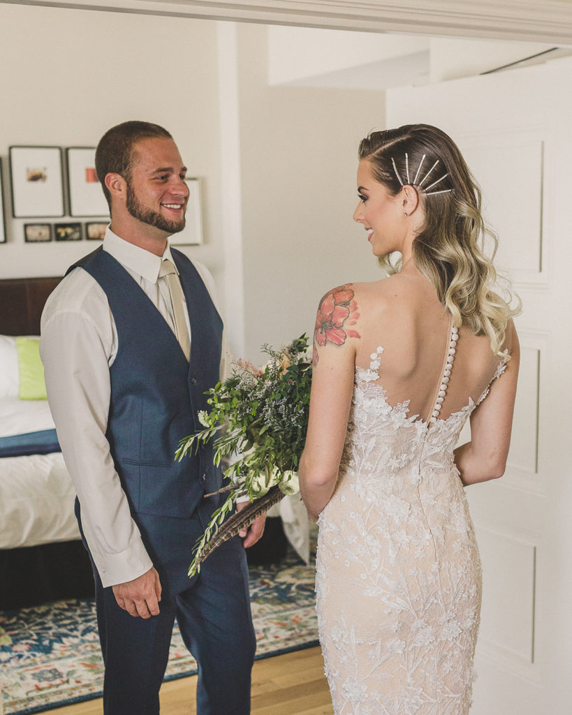 bride and groom have first look in Nomad Suite at Park MGM photographed by Taylor Made Photography