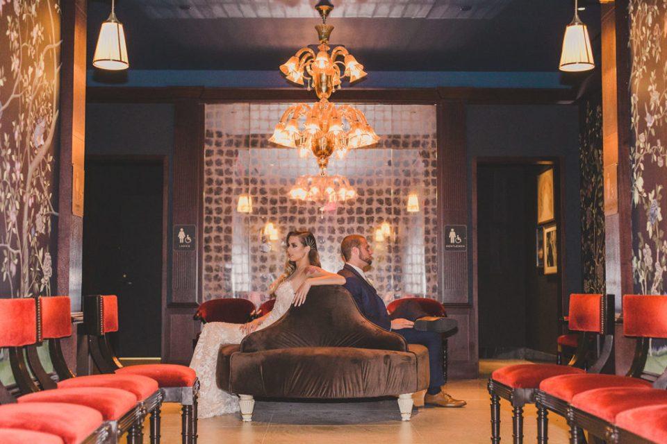 dramatic wedding portraits in lobby of MGM Park