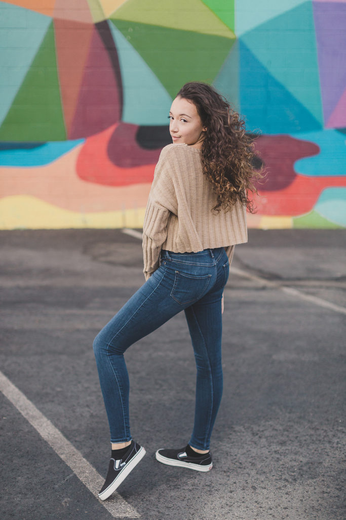 senior photos with dancer and Las Vegas murals by Taylor Made Photography