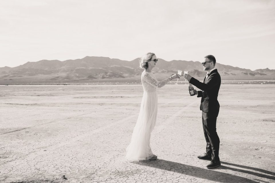 bride and groom celebrate elopement in Nevada with Taylor Made Photography