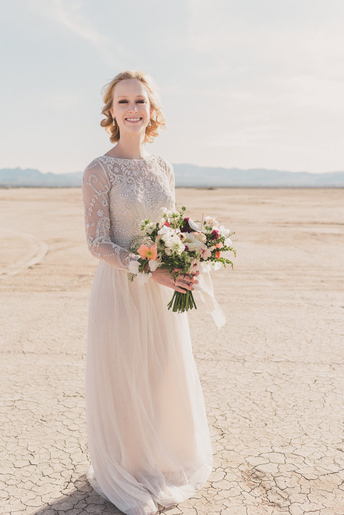 bridal portrait on El Dorado Dry Lake Bed with Taylor Made Photography