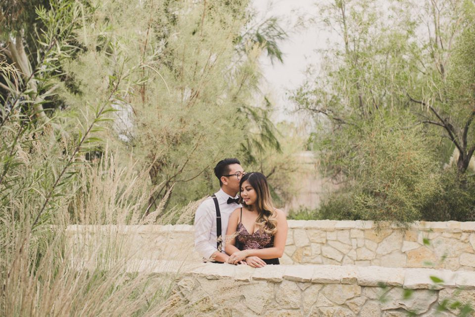 engagement portraits on bridge in Las Vegas by Taylor Made Photography