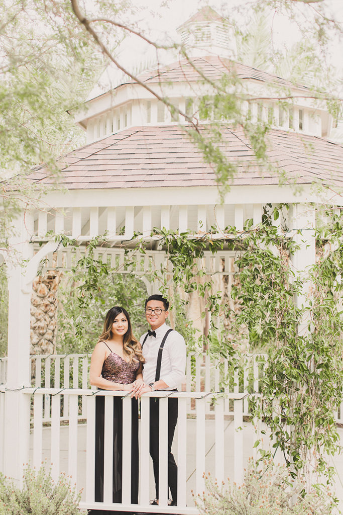 engagement portraits in gazebo with Taylor Made Photography