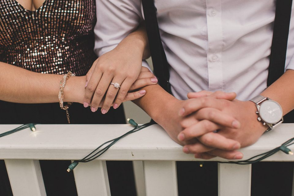 Taylor Made Photography captures bride's diamond ring during engagement session