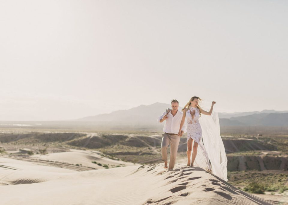 adventurous Las Vegas elopement on sand dunes photographed by Taylor Made Photography