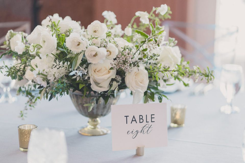 white and green floral centerpieces photographed by Taylor Made Photography