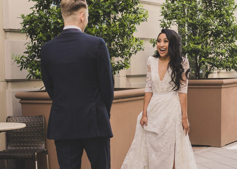 bride surprises groom during first look photographed by Taylor Made Photography