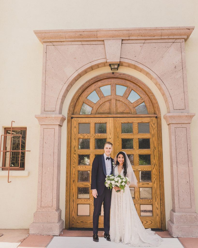 Las Vegas wedding portraits by Catholic Church by Taylor Made Photography
