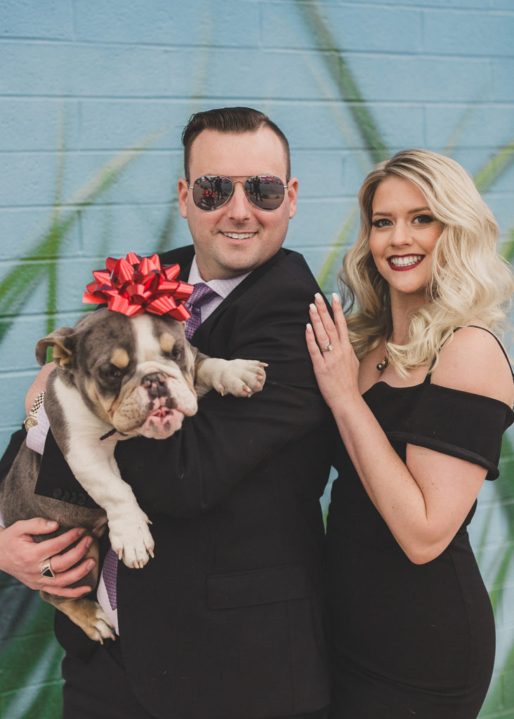 Downtown Arts District family portraits with new puppy photographed by Taylor Made Photography