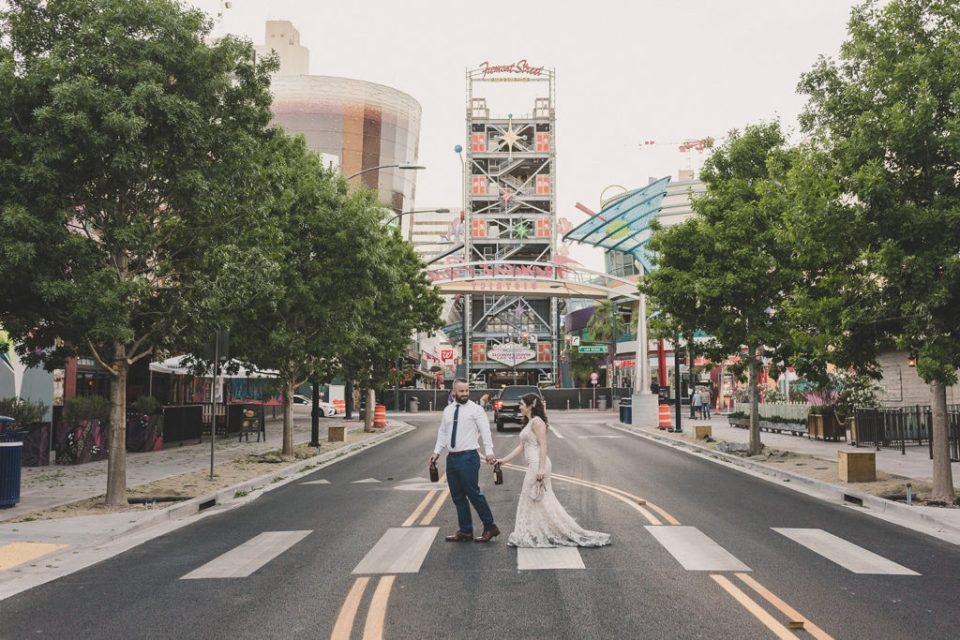 Fremont Street wedding portraits photographed by Taylor Made Photography