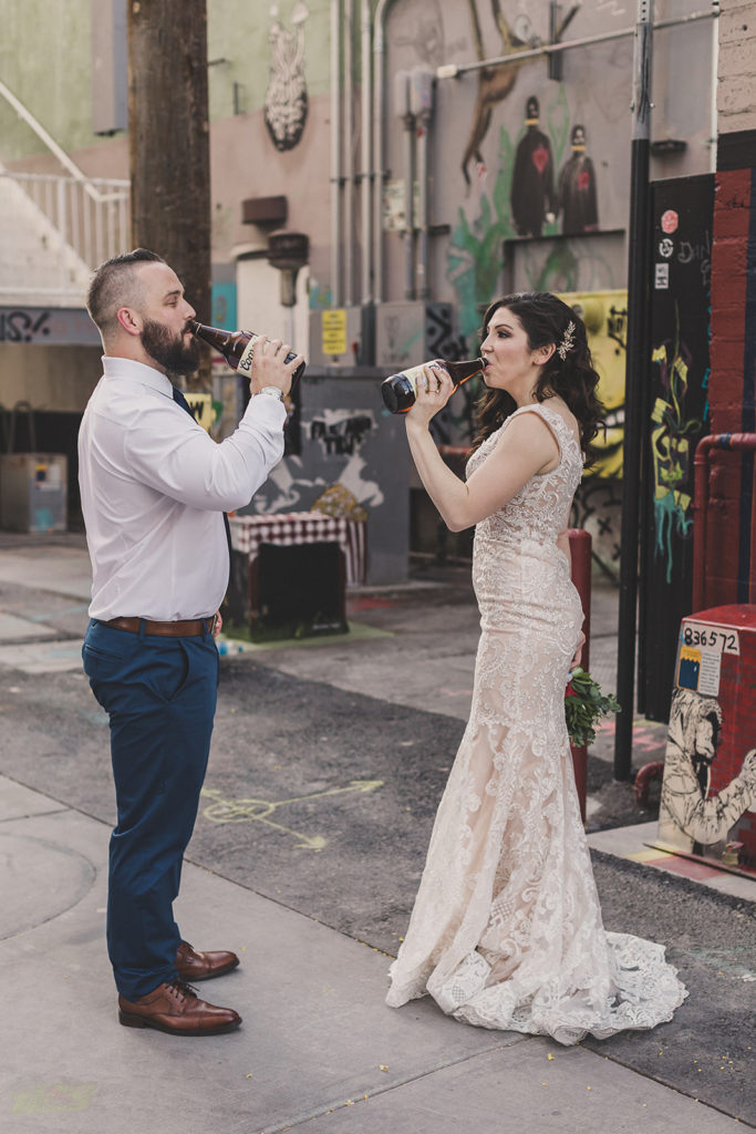 bride and groom drink 40oz beers in las Vegas photographed by Taylor Made Photography