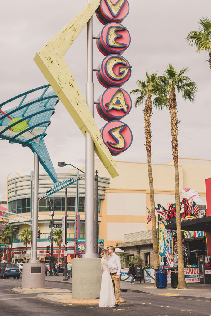 Taylor Made Photography captures Fremont Street engagement portraits in Las Vegas