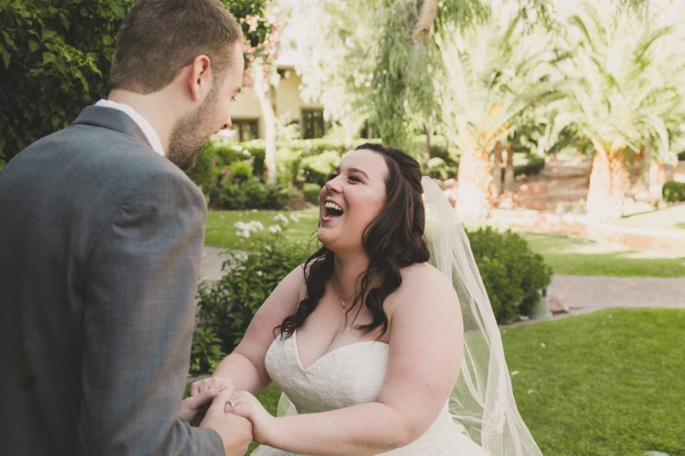 bride and groom's joyful first look at the Grove photographed by Taylor Made Photography