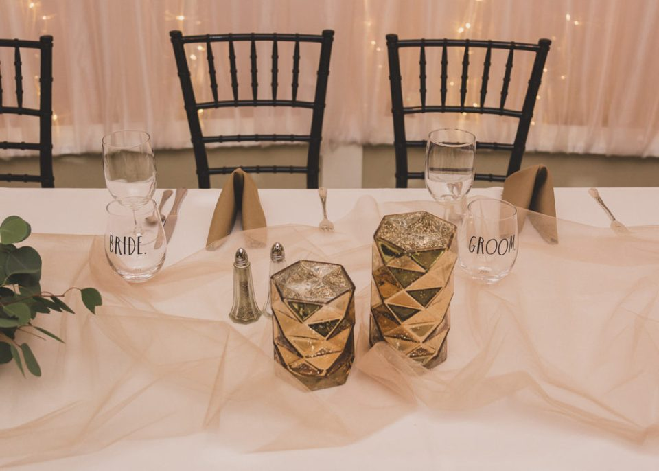 sweetheart table with modern touches at the Grove photographed by  Taylor Made Photography