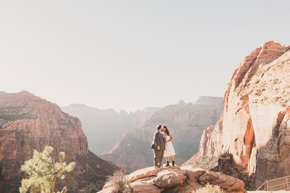 bride and groom hiked in Zion National Park with Taylor Made Photography