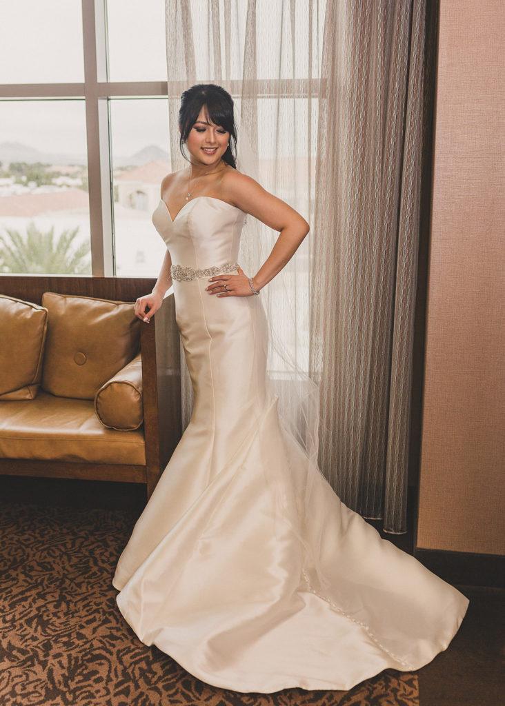 bridal portraits in JW Marriott Las Vegas suite