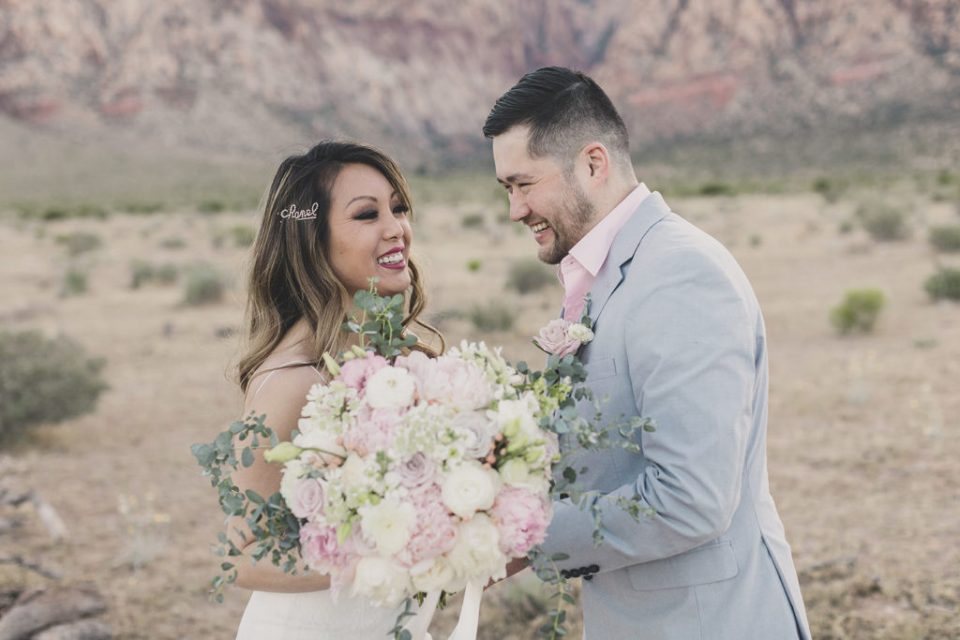 bride and groom see each other before Las Vegas elopement