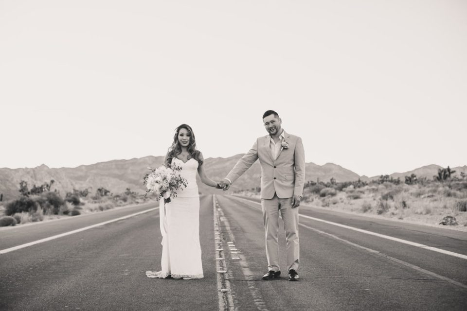 Taylor Made Photography captures Red Rock Canyon wedding portraits on road