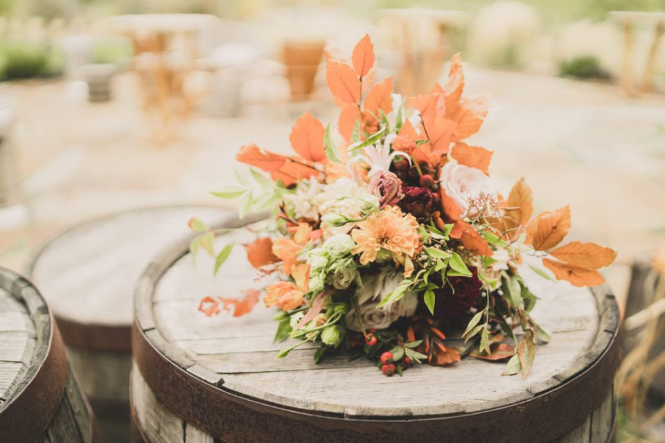 fall floral decorations for riverfront wedding in Heber City