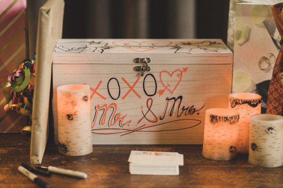 card box for fall Freestone Lodge wedding