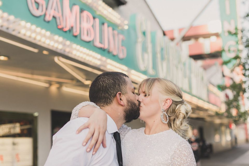 newlyweds kiss during elopement portraits