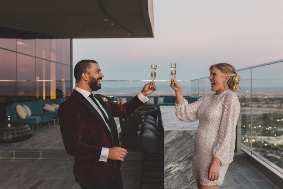 bride and groom toast during Red Rock Resort elopement