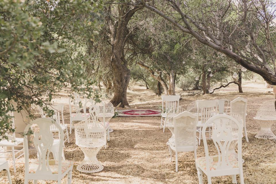 mismatched vintage chairs for outdoor Las Vegas elopement