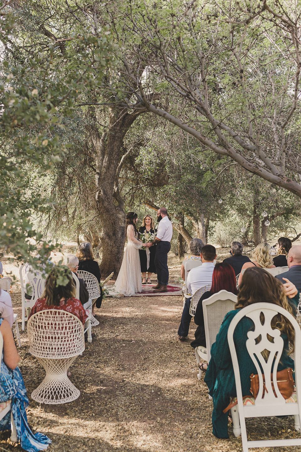 bride and groom exchange vows under tree in Spring Mountain Ranch