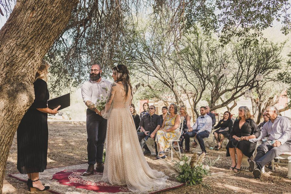 Spring Mountain Ranch Elopement ceremony for bride and groom