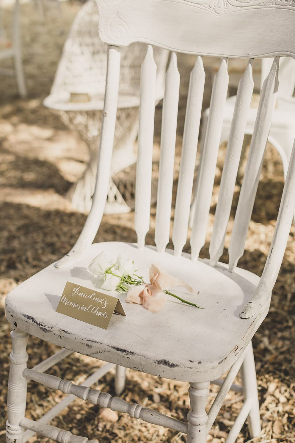 chair with flower for deceased during Spring Mountain Ranch Elopement