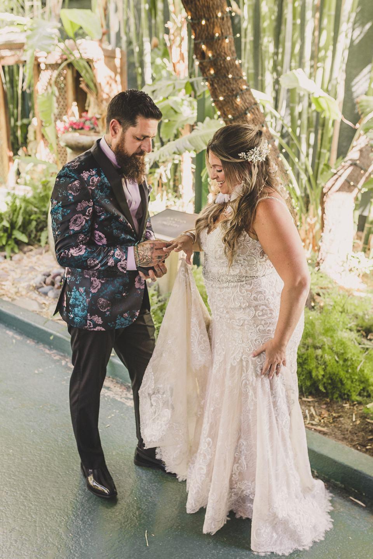 bride and groom exchange letters before Las Vegas wedding
