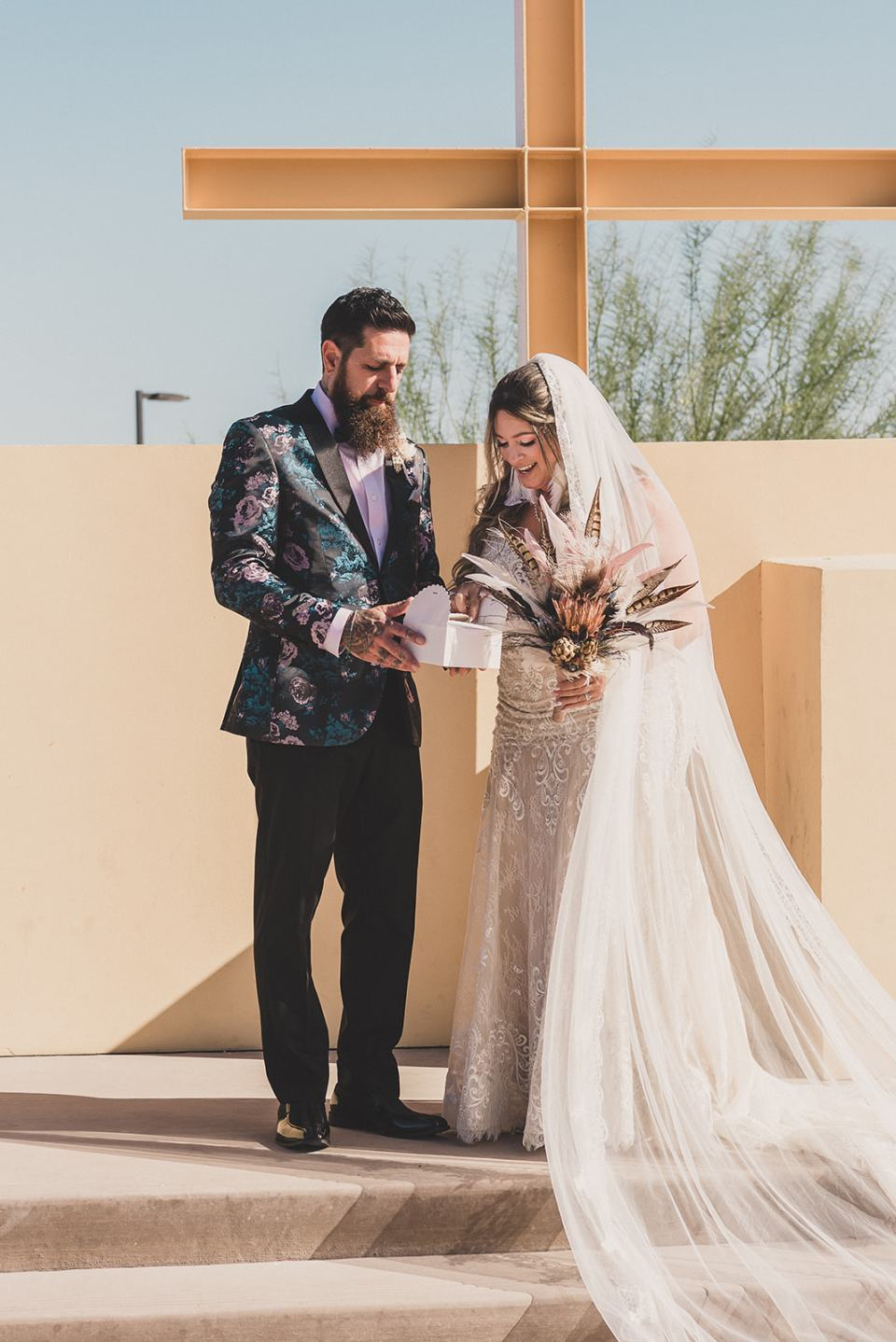 butterfly release after Las Vegas wedding ceremony