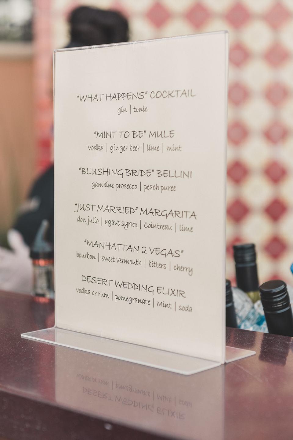 custom wedding drinks inspired by Las Vegas