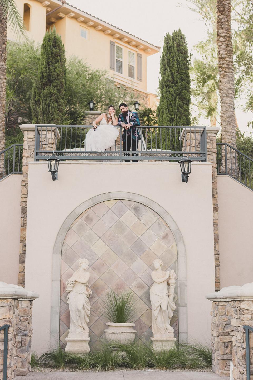 bride and groom pose at The Westin Lake Las Vegas