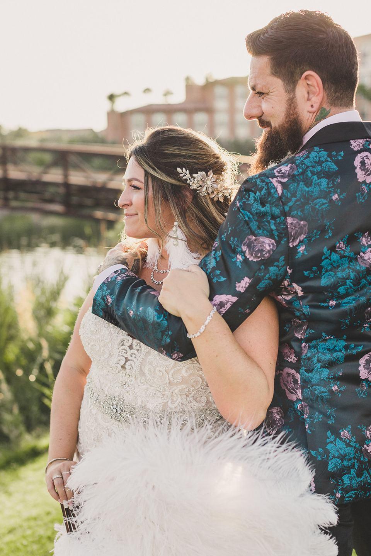 bride and groom watch sunset in Las Vegas