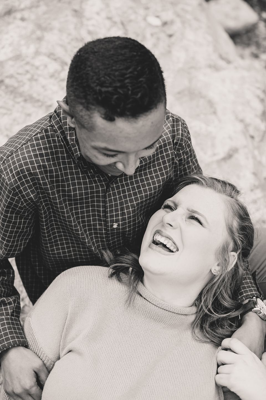 girlfriend looks up at boyfriend during Mt Charleston family photos