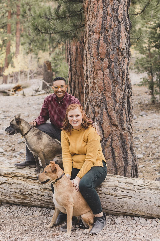 family photos on log along Mary Jane Falls trail