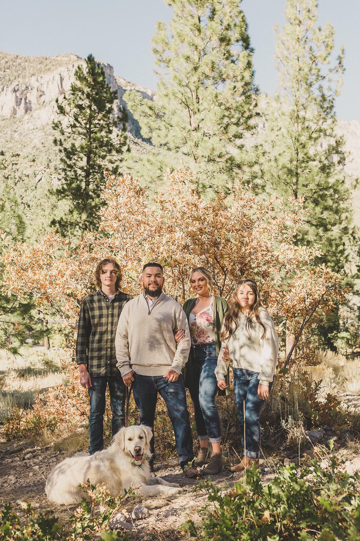 Nevada family photos with dog in Kyle Canyon